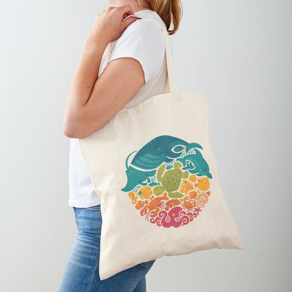 Aquatic Rainbow (light blue) Tote Bag