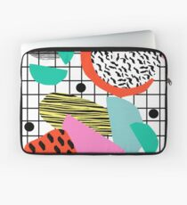 Posse - 1980's style throwback retro neon grid pattern shapes 80's memphis design neon pop art Laptop Sleeve