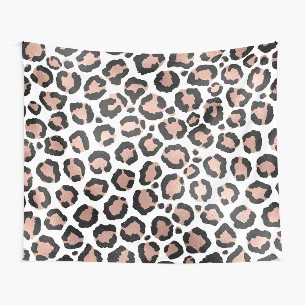 Modern Chic Black Rose Gold Foil Leopard Print Wall Tapestry
