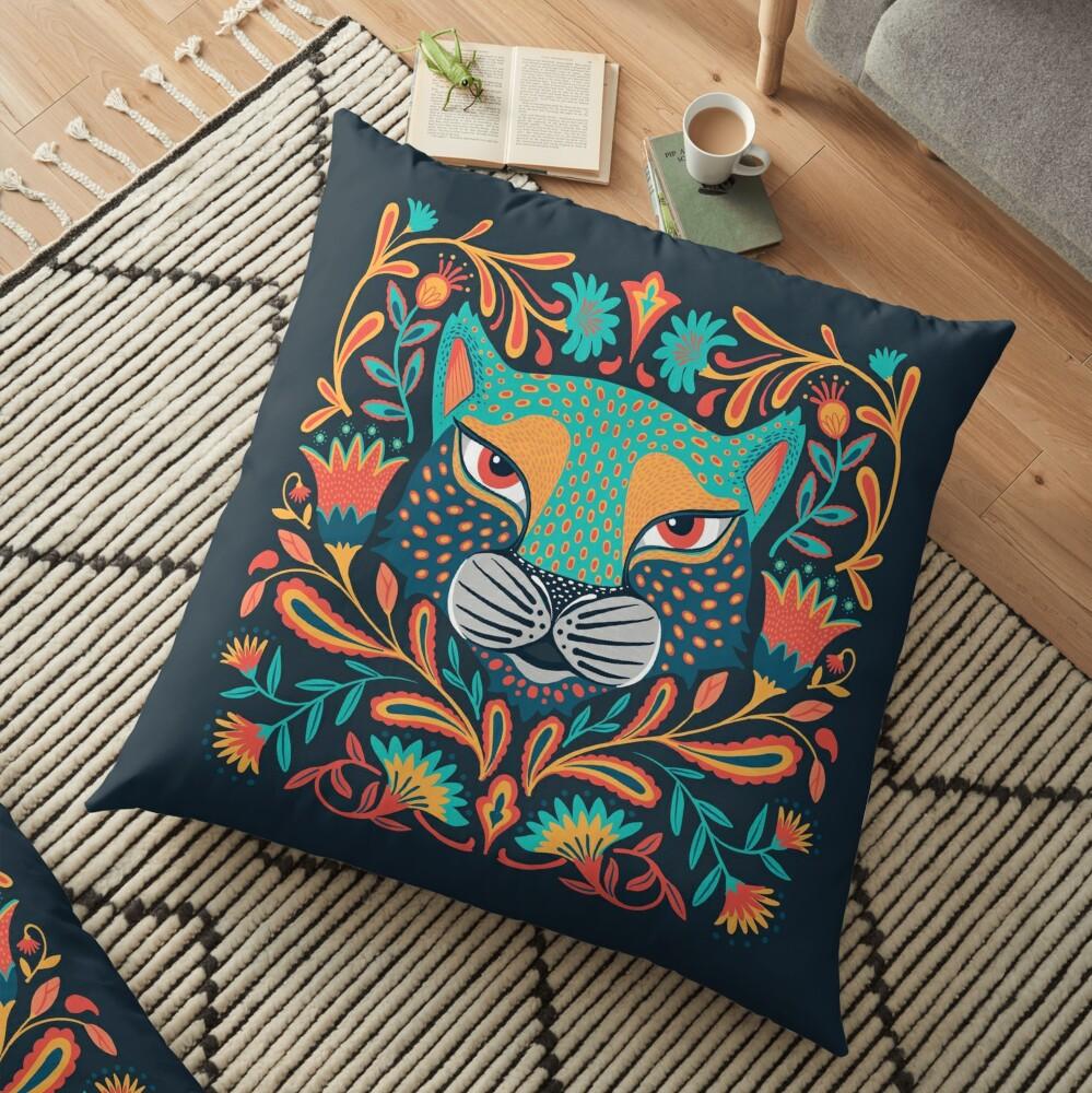 Folk jaguar Floor Pillow