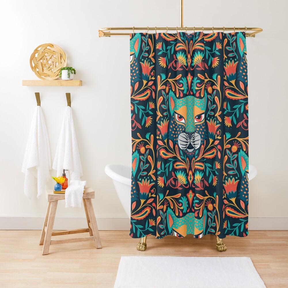 Folk jaguar Shower Curtain