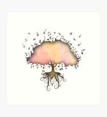 Watercolor Music Tree of Life Art Print