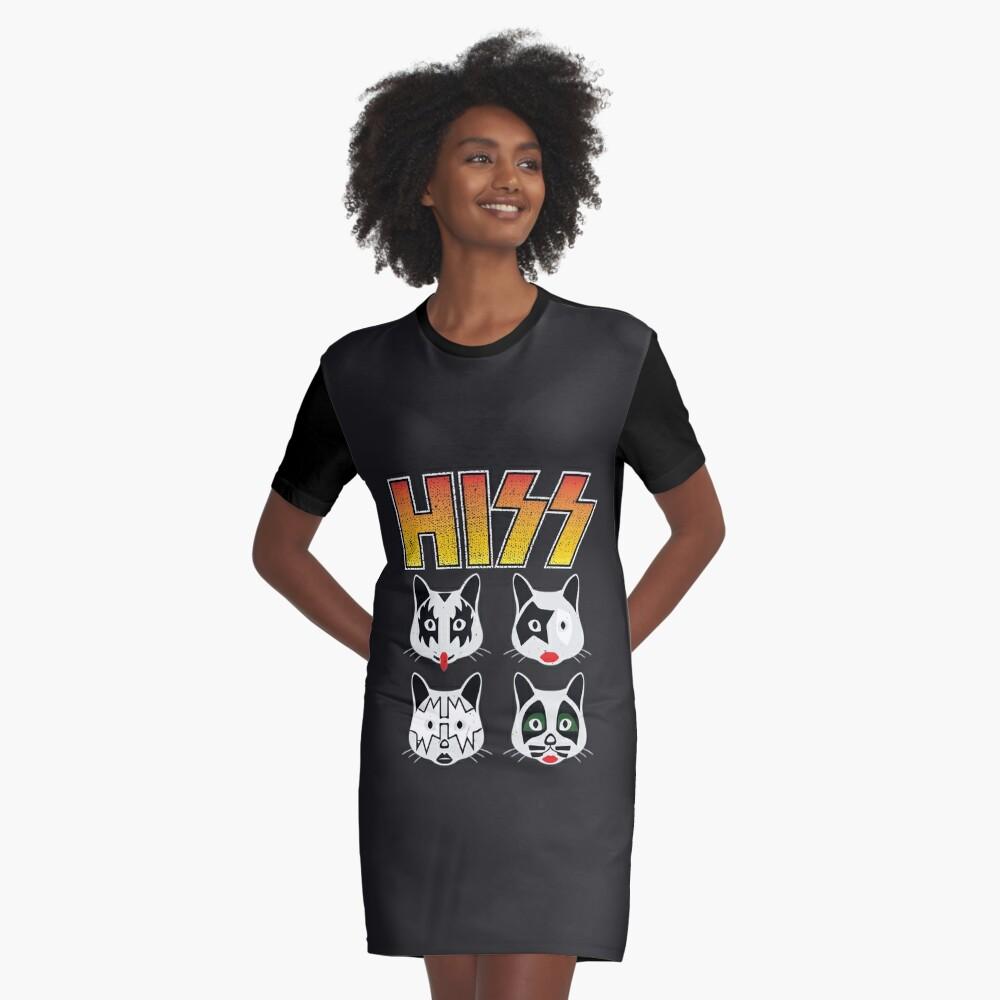 Hiss Kiss - Cats Rock Band Graphic T-Shirt Dress