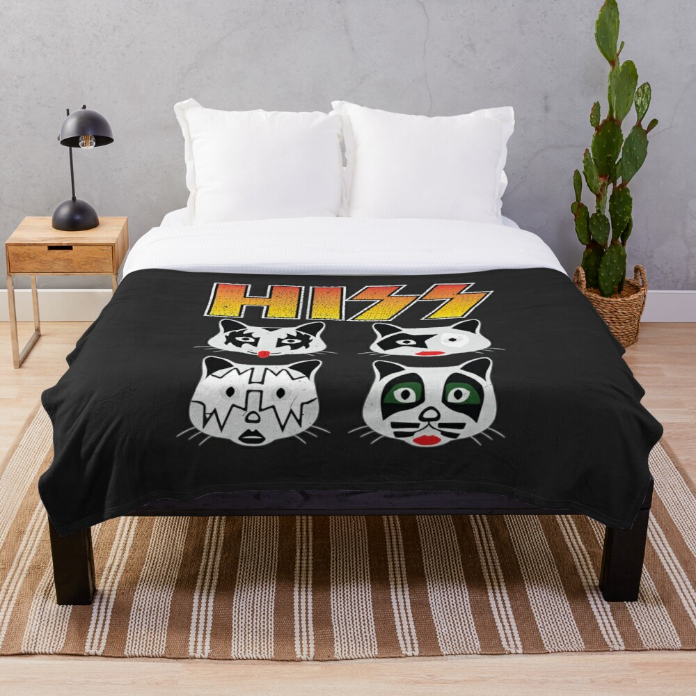 Hiss Kiss - Cats Rock Band Throw Blanket