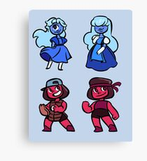 Steven universe mini stickers - Ruby and Sapphire set Canvas Print