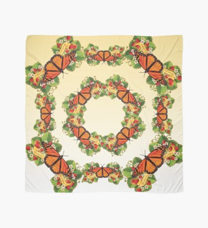 Monarch with Strawberries on Buttercream Scarf