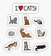 I Love Cats Design Sticker