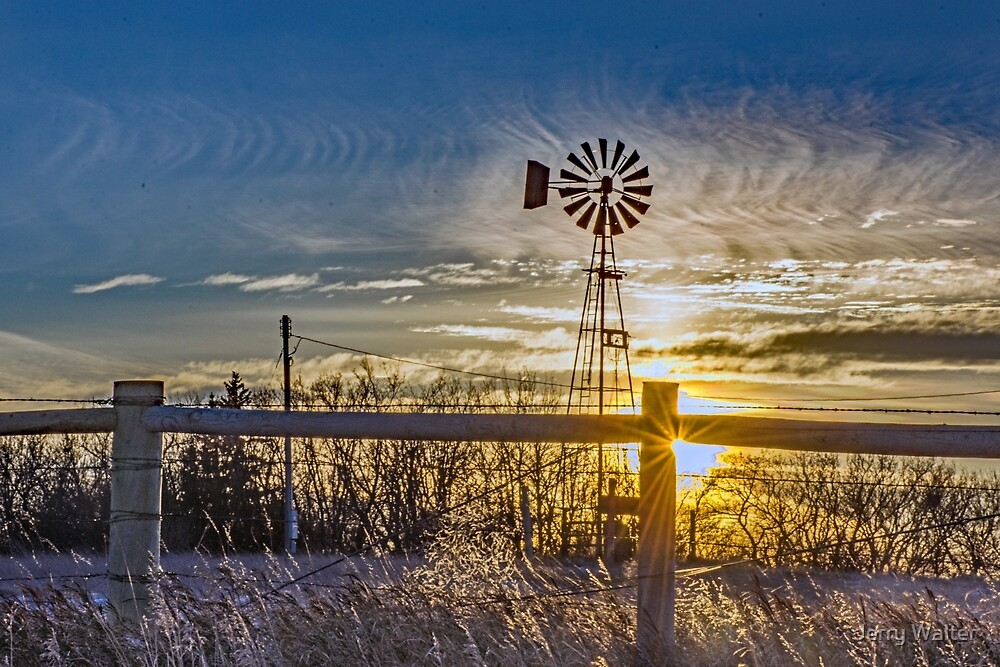 Sunset Sky and Windmill by Jerry Walter