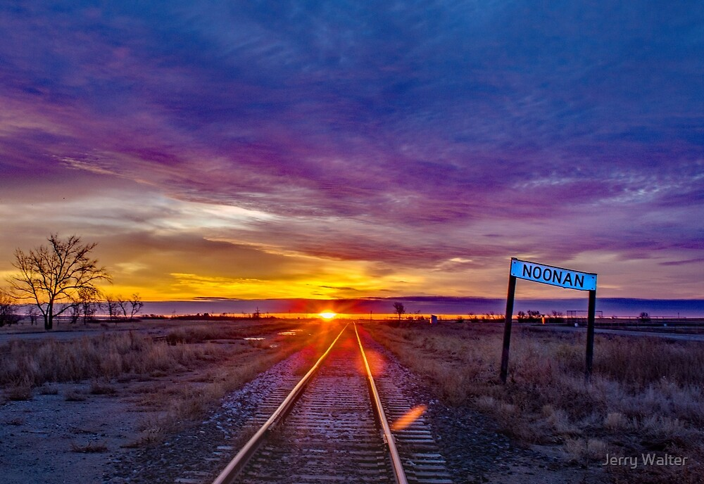 Railroad Tracks and Old Noonan Sign by Jerry Walter