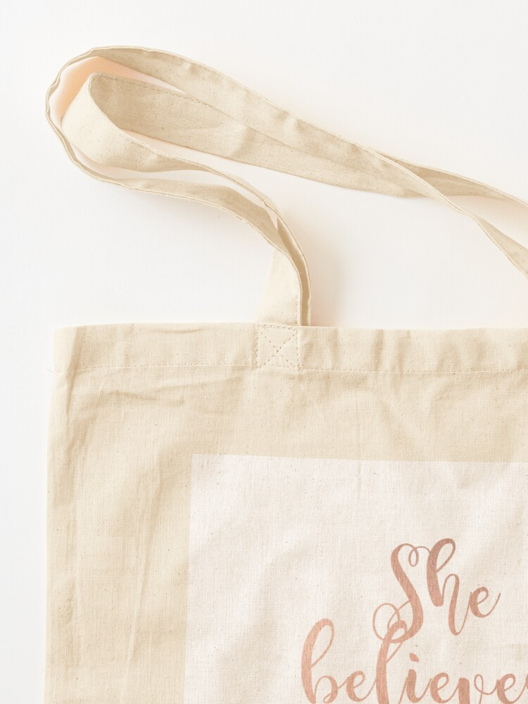 Alternate view of Rose gold she believed she could so she did Tote Bag