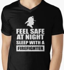Feel Safe At Night Sleep With A Fire fighter Men's V-Neck T-Shirt