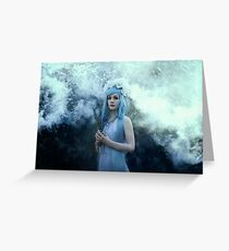 Mystic girl blue hair smoke fantasy elves Greeting Card