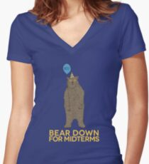 Bear Down for Midterms Women's Fitted V-Neck T-Shirt