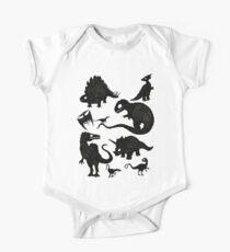 Silhouettierte Dinosaurier Baby Body Kurzarm