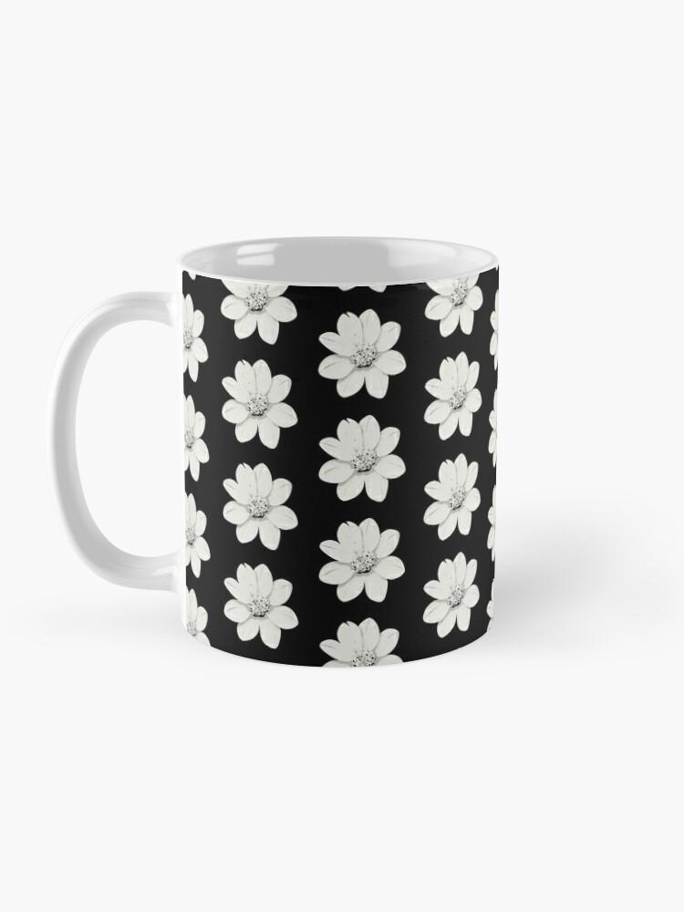 Alternative Ansicht von Weiß und Schwarz Blumen Tasse