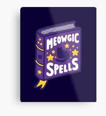 Meowgic Spells Book in Dark Purple Metal Print