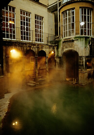 Roman baths in Bath, England. 1980's by David A. L. Davies