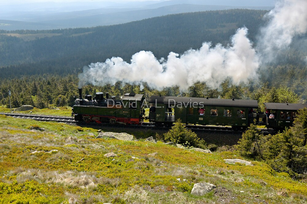 """Train climbing the """"Brocken"""" in former East Germany. by David A. L. Davies"""