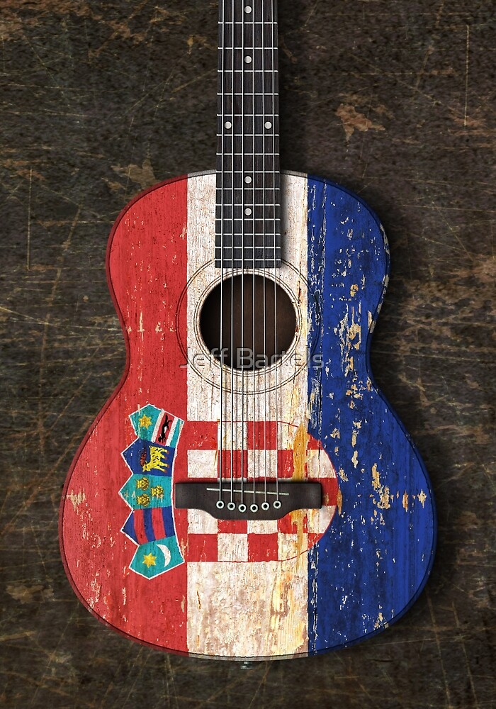 Aged and Worn Croatian Acoustic Guitar by jeff bartels