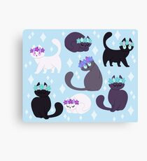 Grey cats with flower crown Canvas Print