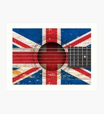 Old Vintage Acoustic Guitar with British Flag Art Print
