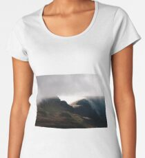 Cloudfall - cloud passes over the Trotternish Ridge on Skye Premium Scoop T-Shirt