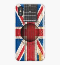 Old Vintage Acoustic Guitar with British Flag iPhone Case