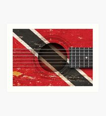 Old Vintage Acoustic Guitar with Trinidadian Flag Art Print