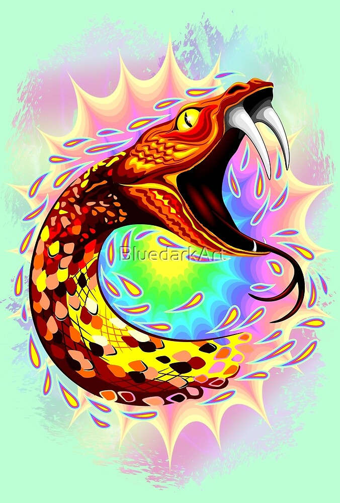 Snake Attack Psychedelic Surreal Art by BluedarkArt