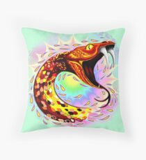 Snake Attack Psychedelic Surreal Art Throw Pillow