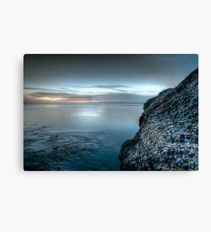 Blue bay and barnacles Canvas Print