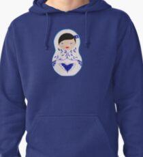 Blue  Babushka Pullover Hoodie