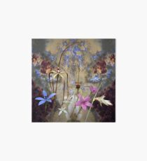 Silky Blue & Orchids with Blue Rusty Metal, native orchids of Western Australia. Art Board Print