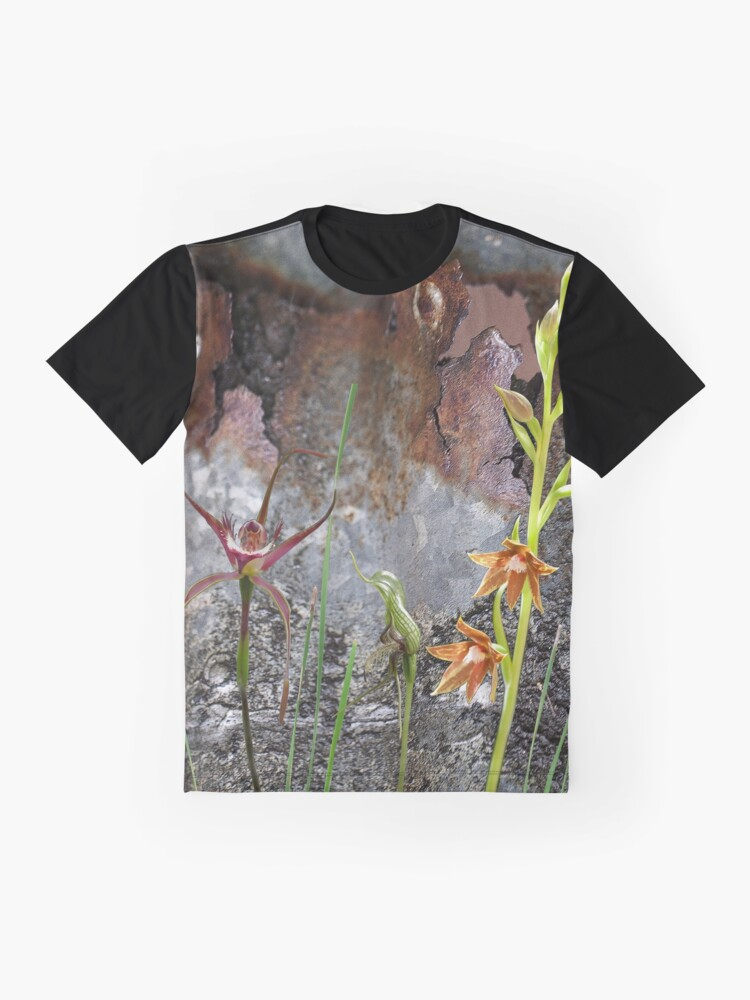 Alternate view of Rusty Spider & Orchids with Rusty Tin, native orchids of Australia. Graphic T-Shirt