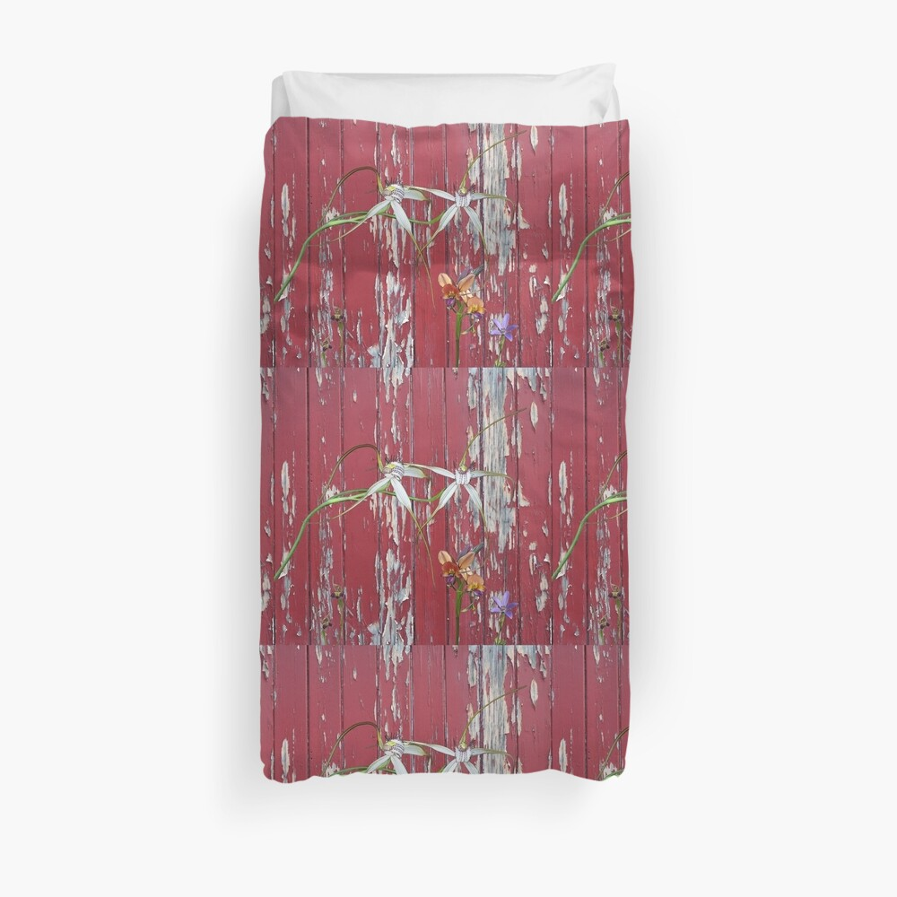 Longicordia Orchid with Red Painted Wall, native orchids of Western Australia. Duvet Cover