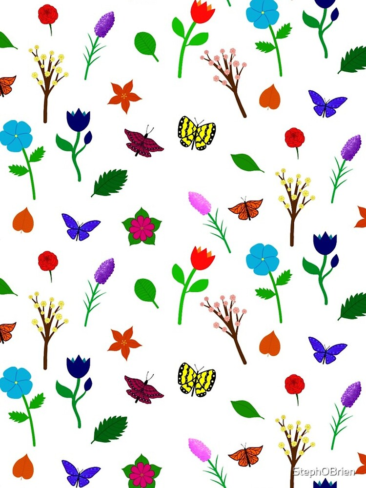 Scattered Flowers and Butterflies, no background by StephOBrien