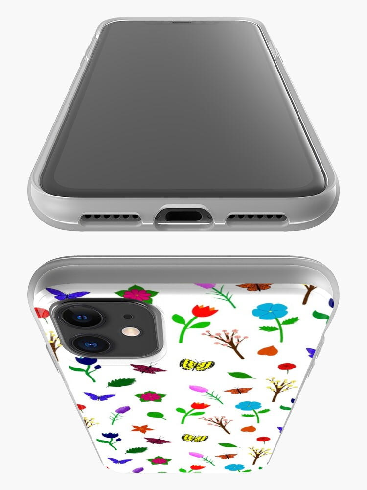 Alternate view of Scattered Flowers and Butterflies, no background iPhone Case & Cover