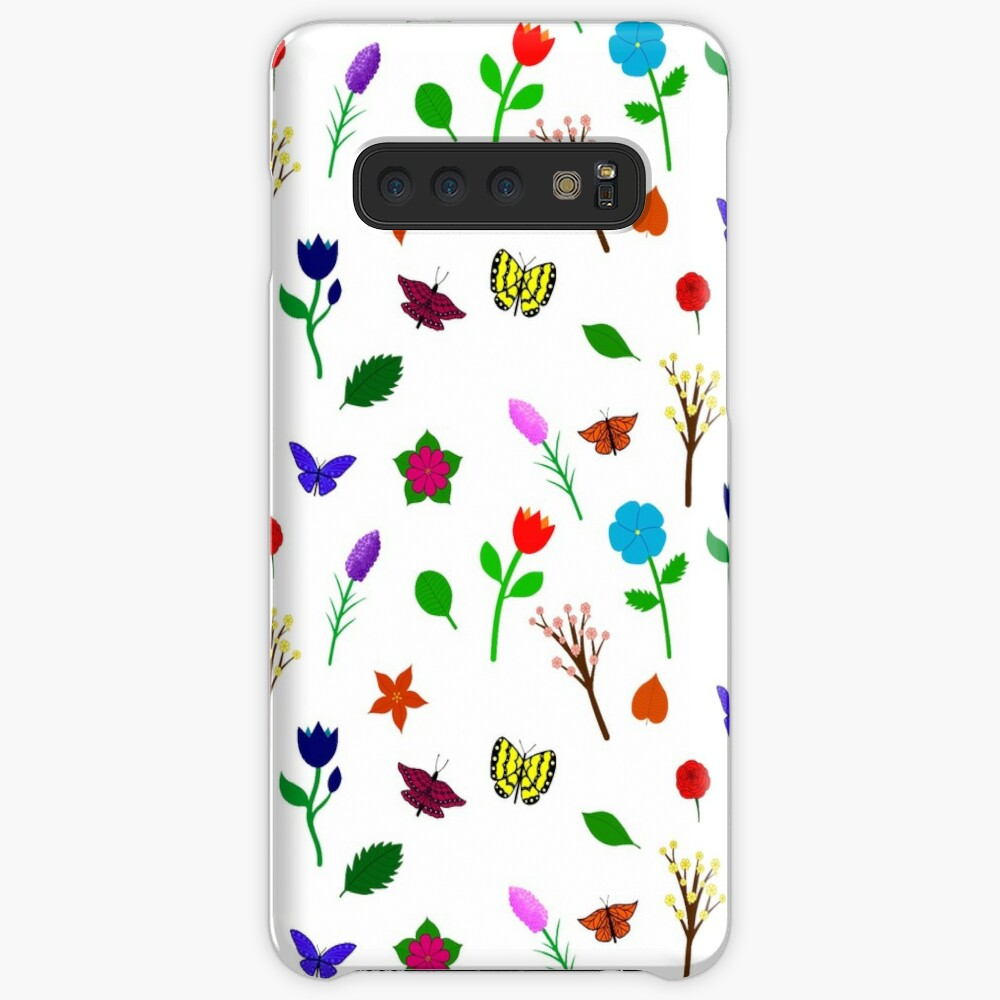 Scattered Flowers and Butterflies, no background Case & Skin for Samsung Galaxy