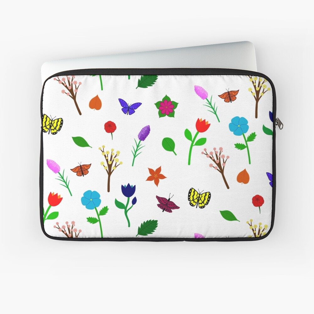 Scattered Flowers and Butterflies, no background Laptop Sleeve