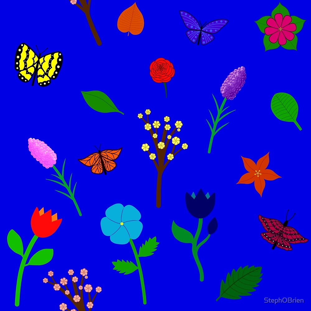 Scattered Flowers and Butterflies, blue background by StephOBrien
