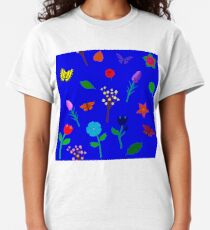 Scattered Flowers and Butterflies, blue background Classic T-Shirt