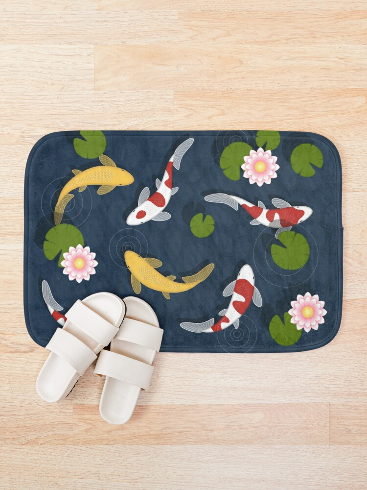 Alternate view of Japanese Koi Fish Pond Bath Mat