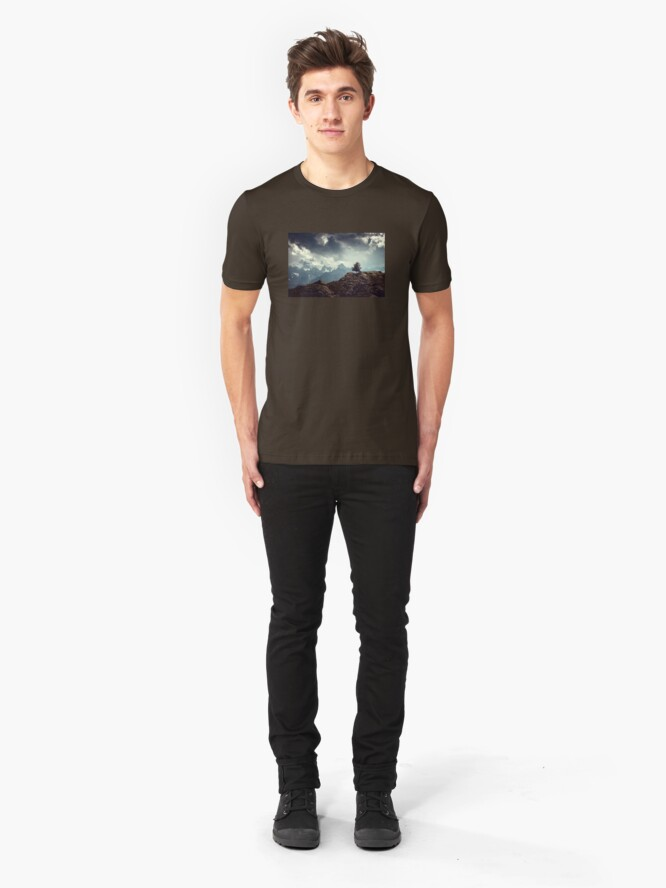 Alternate view of Majestic Mountains and a lone tree Slim Fit T-Shirt
