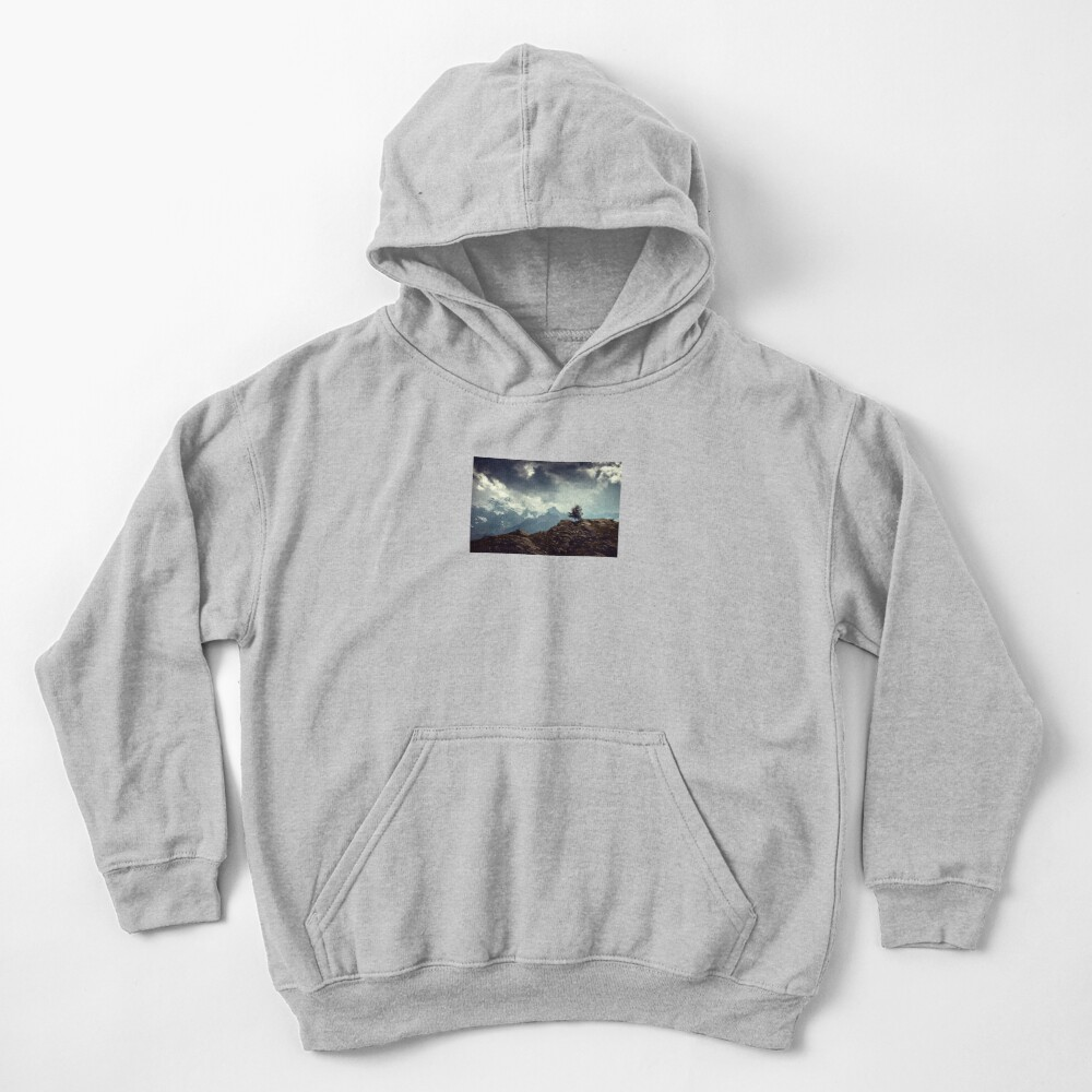 Majestic Mountains and a lone tree Kids Pullover Hoodie