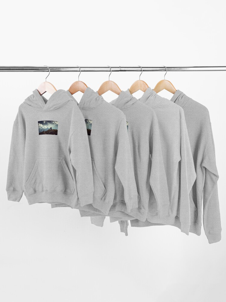 Alternate view of Majestic Mountains and a lone tree Kids Pullover Hoodie