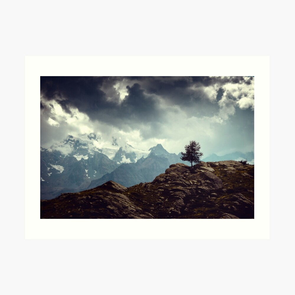 Majestic Mountains and a lone tree Art Print