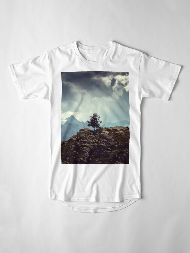 Alternate view of Majestic Mountains and a lone tree Long T-Shirt