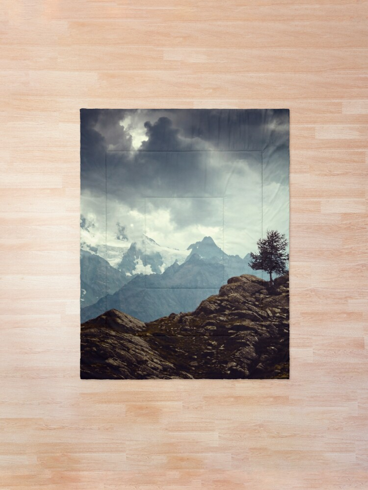 Alternate view of Majestic Mountains and a lone tree Comforter