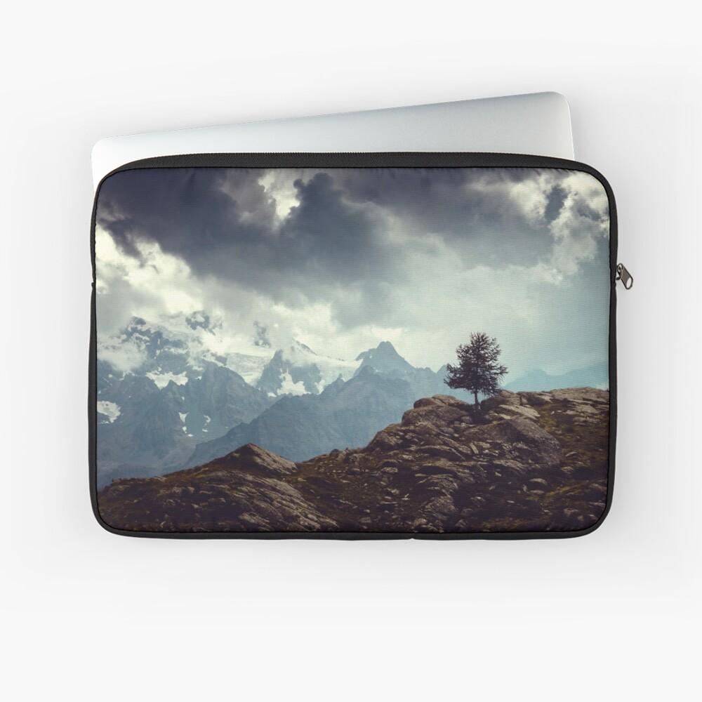 Majestic Mountains and a lone tree Laptop Sleeve