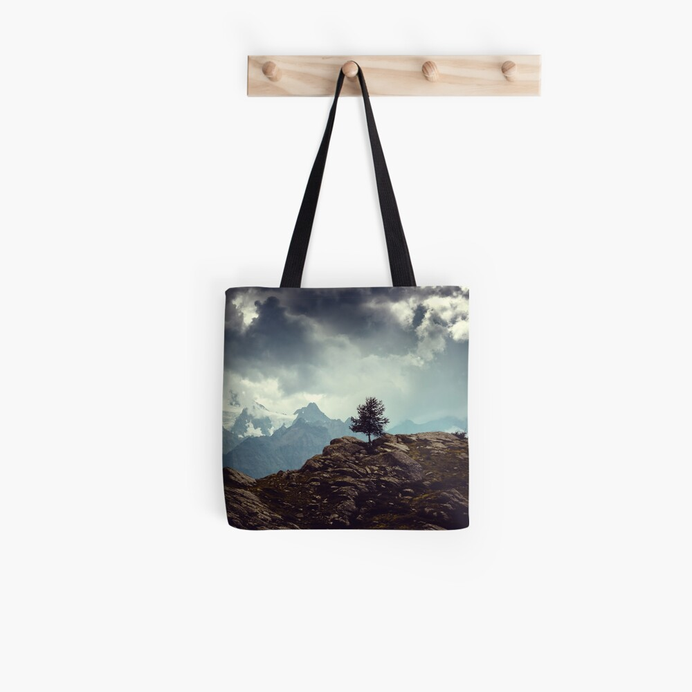 Majestic Mountains and a lone tree Tote Bag